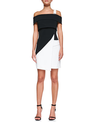 Off-the-Shoulder Colorblock Dress