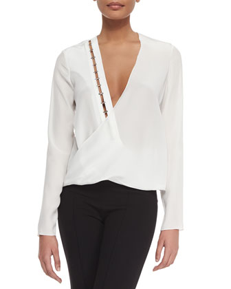 Cutout Studded Surplice Blouse, Off White