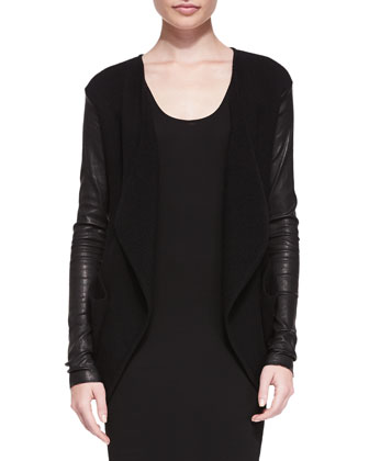 Cashmere Cardigan W/ Leather Sleeves