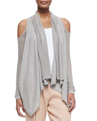 Cashmere Cold-Shoulder Cardigan