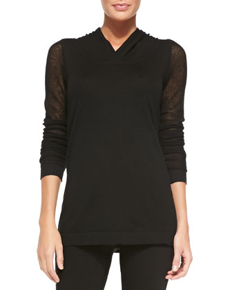 Cashmere Hooded Long-Sleeve Top