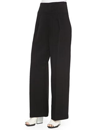 Wide-Leg Trousers, Black
