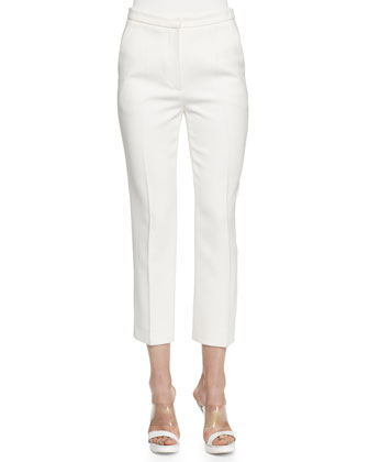 Cropped Leaf Crepe Pants, Ivory