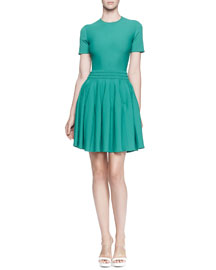 Pleated knit Dress w/Textured Waistband