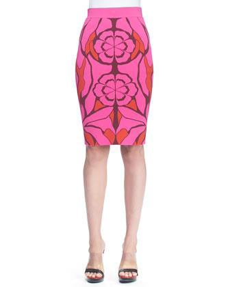 Flower Jacquard Pencil Skirt