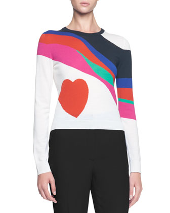 Multicolor Heart Crewneck Sweater
