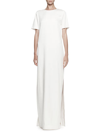 Short-Sleeve Crepe Satin Gown