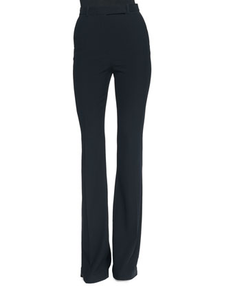 Flat-Front Flared Crepe Pants
