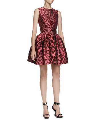 Leopard Brocade Pouff Dress