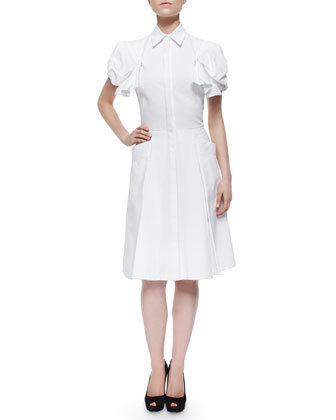 Puff-Sleeve Pique-Knit Shirtdress