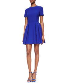 Cap-Sleeve Pleated Mini Dress