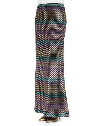 Textured Pull-On Maxi Skirt