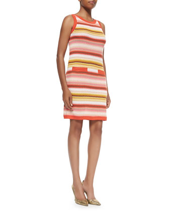 Zigzag-Striped Tank Dress