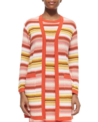 Long Zigzag-Striped Open Cardigan