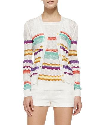 Button-Front Cardigan W/ Zigzag Stripes