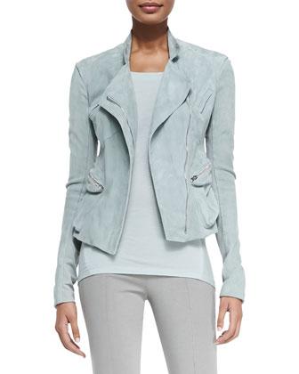 Suede Front-Zip Moto Jacket