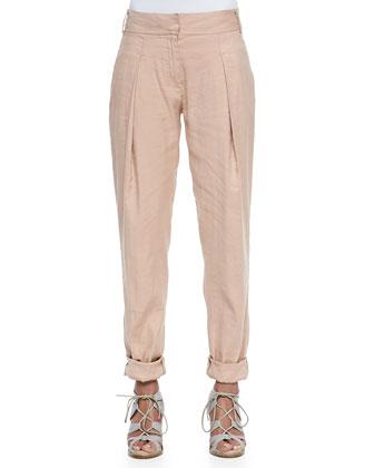 Pleated Linen-Blend Pants