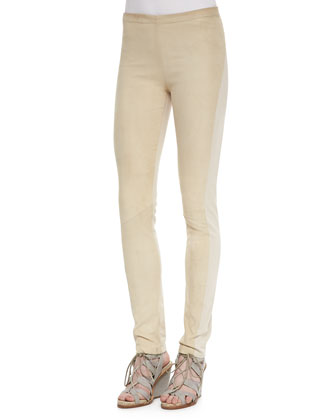 Suede-Front Paneled Pants