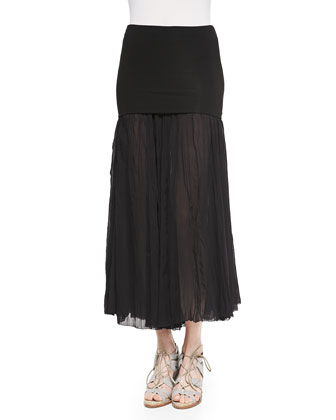 Folded-Waist Broomstick Skirt