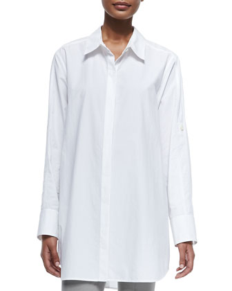 Long-Sleeve Oversized Button-Down Tunic