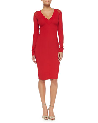 Long-Sleeve V-Neck Fitted Dress