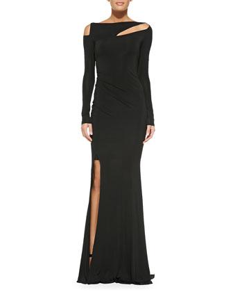 Long-Sleeve Cold-Shoulder Slash Gown