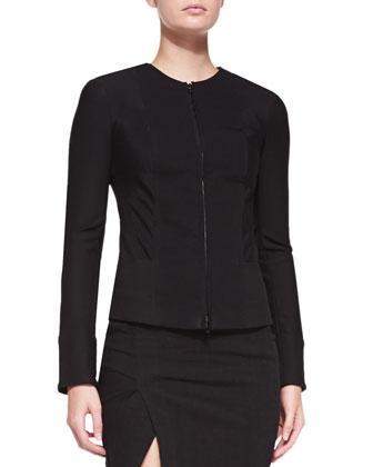 Collarless Zip-Front Jacket