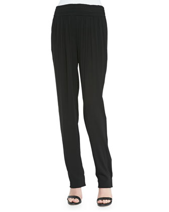 Pull-On Pants w/ Pleated Front