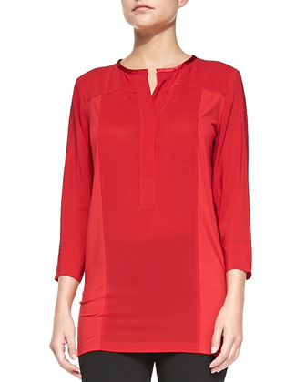 3/4-Sleeve Crepe Top with Jersey Sides, Real Red