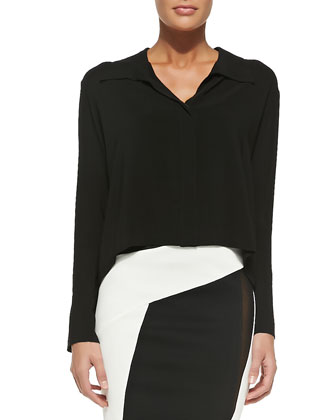 Long-Sleeve Cropped Silk Blouse