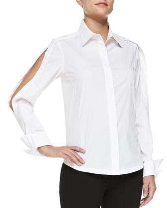Open-Sleeve Poplin Blouse, White