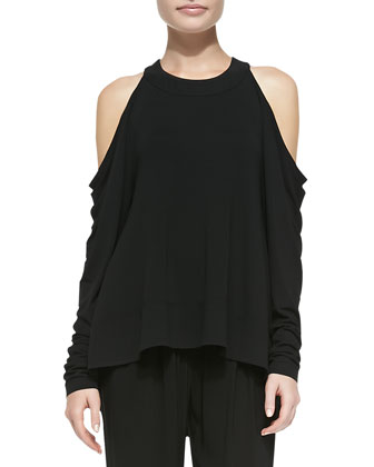 Long-Sleeve Cold-Shoulder Tunic