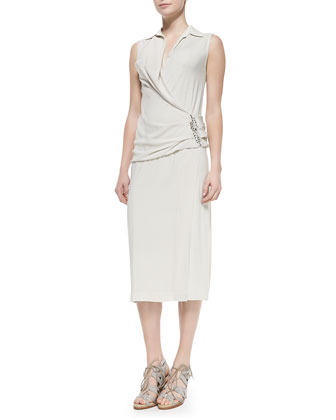Sleeveless Back-Drape Dress, Chalk
