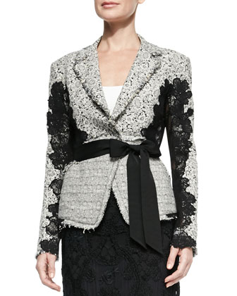 Grosgrain-Belted Lace Jacket, Ivory/Black