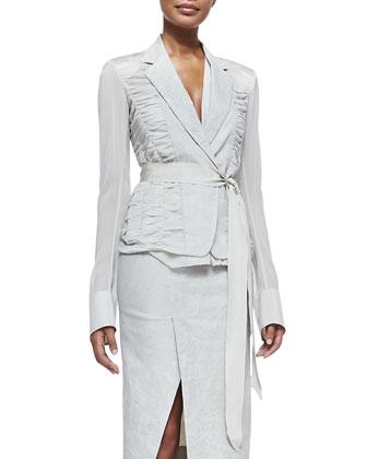 Contrast-Sleeve Blazer w/ Grosgrain Belt