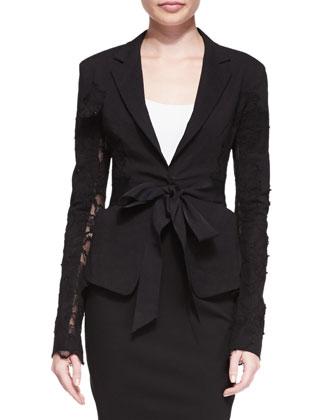 Lace-Detail Belted Blazer