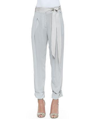 Pleated Cuffed Sash-Belt Pants