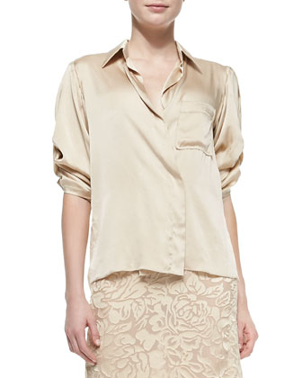 Rolled-Sleeve Sateen Shirt