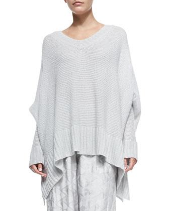Oversized V-Neck Poncho Sweater