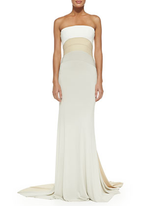 Strapless Tri-Color Evening Gown