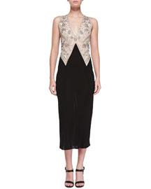 Sleeveless Embroidered Plunge-Neck Dress