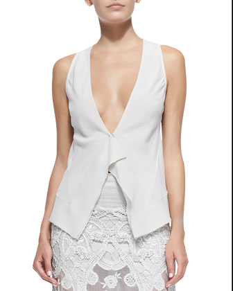 Sleeveless Blouse with Front Ruffle