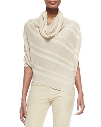 Striped Asymmetric Cowl-Neck Sweater