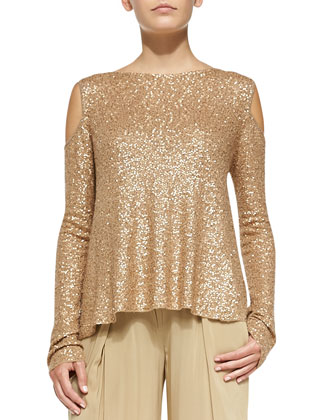 Sequined Cashmere Easy Cold-Shoulder Top
