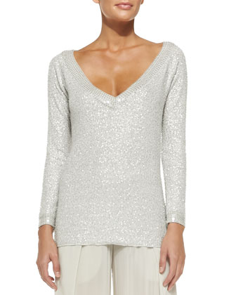 Cashmere Sequined V-Neck Top
