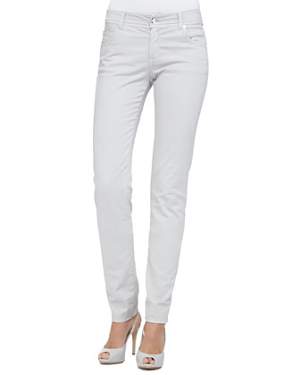 Brushed Cotton 5-Pocket Regular Fit Jeans, White