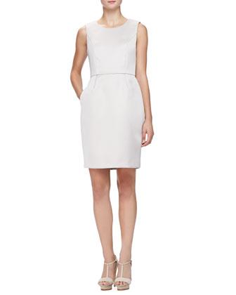 Sleeveless Glossy Cady Sheath Dress, Almond