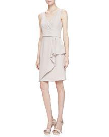 Sleeveless Surplice Drape Dress, Almond