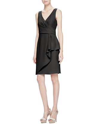Surplice Side-Draped Cady Dress, Black