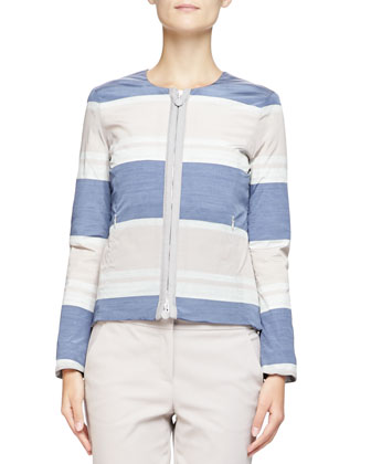 Striped Taffeta Zip Jacket